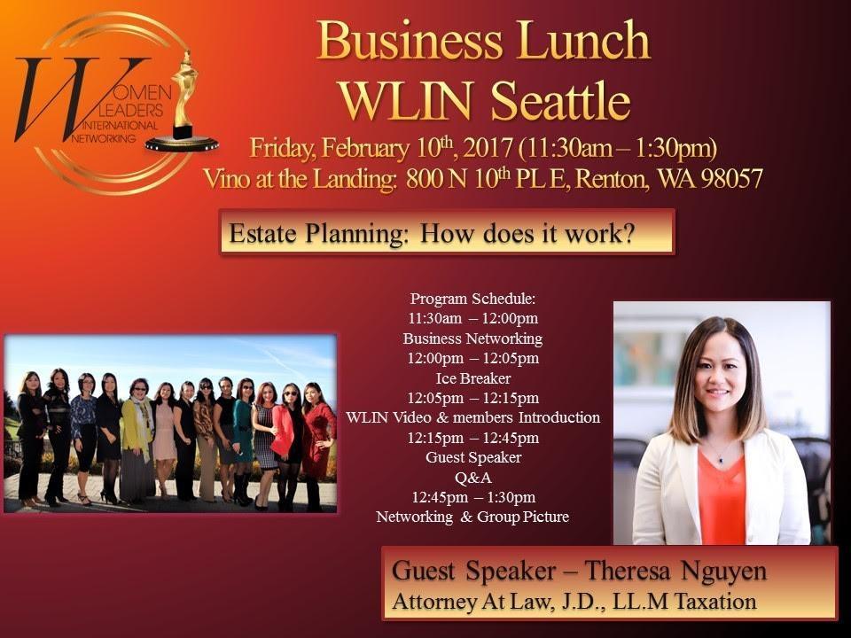 Theresa Nguyen J.D. LL.M. Guest Speaker - Estate Planning Attorney - WLIN Seattle